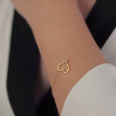 New Fashion Heart Bracelet Bangle Delicate Simple Bracelets Bangles Silver Gold Bracelet Women Gift For Her Jewelry Simple Bracelets, Colorful Bracelets, Simple Jewelry, Heart Jewelry, Cute Jewelry, Modern Jewelry, 14k Gold Jewelry, Gold Bracelet For Women, Gold Bangle Bracelet