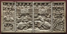 Three Panels from a Casket with Scenes from Courtly Romances 1330-1350