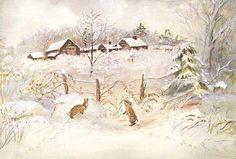 Lapins dans la neige.