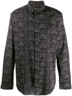 Black cotton blend floral long-sleeve shirt from John Varvatos featuring a classic collar, a button fastening, long sleeves, fitted cuffs and a floral print. Cotton Viscose, John Varvatos, Black Cotton, Size Clothing, Long Sleeve Shirts, Floral Prints, Women Wear, Sleeves, Cuffs