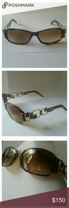 Cazal 879 Tortoise Sunglasses Cazal Mod. 879 Color 162 (tortoise) *** DISPLAY MODEL ***  Frames in gold plated / tortoise with brown / beige gradient lens. Triple hand painted 24 ct gold plating Scratch and Impact resistant 100% UV protection Made in Germany Size: 56 x 16 x 120mm  These have some catching on lens, are display glasses with marker on lens, and paint ever so slightly chipped at joint, bearly noticeable when arm opened.  Beautiful eyewear, well crafted, new condition, except for…
