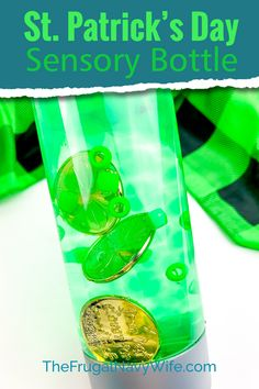 I like simple and easy kids' activities. We love this St. Patrick's Day Sensory Bottle for more reasons than one. #frugalnavywife #stpatricksday #sensorybottle #easykidsactivity #kidscrafts | Easy Kids Activity | Easy Kids Craft | Sensory Bottle | Calming Bottle Ideas | St. Patrick's Day Activities | St. Patrick's Day Crafts for Kids | St Patrick's Day Crafts, Easy Crafts For Kids, Fun Crafts, Amazing Crafts, St Patrick's Day Decorations, Festival Decorations, Do It Yourself Projects, Do It Yourself Home, Calming Bottle