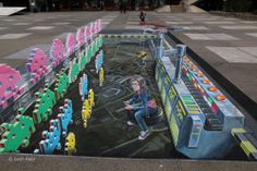 3D street art Space Invaders at EPLF campus Lausanne Switzerland
