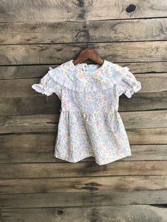 Vintage Children's Blue Pink & White Floral Dress with