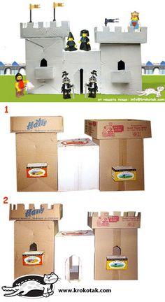 château avec boites de carton