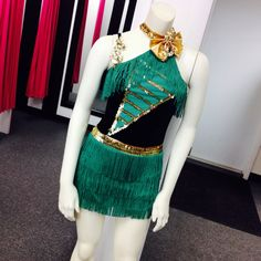 Fun and Festive Green Fringe Dress with gold accents!