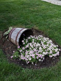 Landscape Design, Garden Design, Wine Barrel Planter, Low Maintenance Backyard, Pot Jardin, Peonies Garden, Diy Garden Decor, Garden Ideas, Easy Garden
