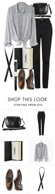"""""""Untitled #9044"""" by nikka-phillips ❤ liked on Polyvore featuring Topshop, Yves Saint Laurent, Madewell, H.E.BY MANGO, H&M and Daniel Wellington"""