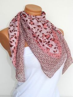 Pastel Orange Multicolor leopard pattern Turkish Yemeni Scarf ..bridal,scarf,authentic, romantic, elegant, fashion, personalized design  $19.00 USD