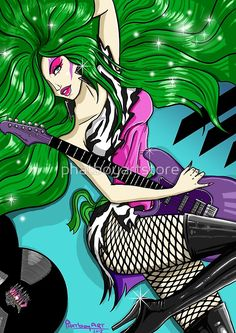 Lead singer and general bad girl, Pizzaz, from Jem and the Holograms. Sprkle brush by: Pizzazz (The Misfits) Old School Cartoons, Sexy Cartoons, Framed Prints, Canvas Prints, Art Prints, Jem And The Holograms, Cartoon Styles, Comic Books Art, Live Action