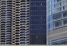 Fassaden der Marina City (links) und Trump Tower (rechts), Chicago, Illinois, USA