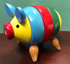 Rare vintage Brio stacking pig wood toy made in Sweden Antique Toys, Vintage Toys, Vintage Antiques, Brio Toys, Stacking Toys, Toy Collector, Wood Toys, Piggy Bank, Sweden