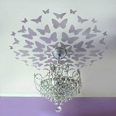 Stencil these Dancing butterflies on a ceiling in your kids room or nursery! Reusable stencils for easy DIY decor. Butterfly stencils for nurseries, kids rooms, baths. Free stencil with each order! Modern Ceiling Medallions, Butterfly Stencil, Diy Butterfly, Purple Butterfly Nursery, Butterfly Bedroom, Bird Stencil, Mandala Stencils, Deco Luminaire, Decoration Inspiration