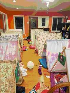 A troop leader shares her troops first Girl Scout Indoor Camping Sleepover with instructions for a special personal tent for each camper. Blog available at Girl Scout Leader 411 MakingFriends.com