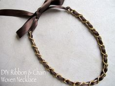 DIY designer inspired ribbon and chain necklace in 4 easy steps |Makeup and Macaroons Use up my old ribbon