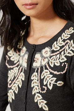 embroidery detail on Anthropologie sweater Floral Embroidery, Embroidery Ideas, Sweater Embroidery, Pretty Outfits, Pretty Clothes, Used Clothing, Sweater Outfits, Distressed Denim, Knitwear