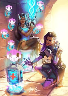 Symmetra and Sombra by Risachantag.deviantart.com on @DeviantArt - More at https://pinterest.com/supergirlsart #overwatch #hack #fanart