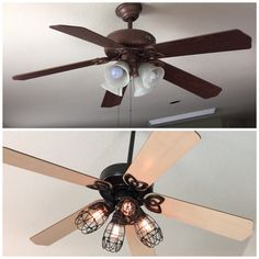 DIY ceiling fan makeover: Add cage bulb guards and Edison bulbs. John took fan down and I spray painted fan to dark bronze to match cages we found at Lowe's and flip fan blades to light wood side for a new look :-) Love it!