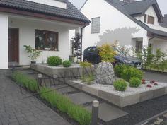 Ogrody nowoczesne - Poznań - Ogrody Marzeń New Model House, Herb Garden, Home And Garden, Front Gardens, Modern Backyard, Garden Stones, Home And Deco, Front Yard Landscaping, Model Homes