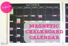 DIY Home Decor | Get your family organized with this magnetic chalkboard calendar!