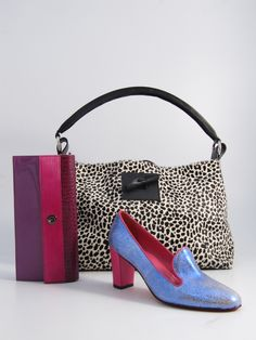 Hester van Eeghen: Milkmaid Medium black giraffe small, Resto & Pesto pink purple croco, City Girl metallic pink