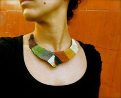 Design Macrame Necklace in V shape with by RitaPratesCaetano.