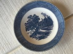 Vintage Blue and white Currier and Ives salad plate Birthplace Washington, Blue transfer ware dessert plates, wedding shower brunch luncheon