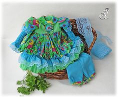 Doll dress/ Doll clothing set/ Blue doll dress. A set of