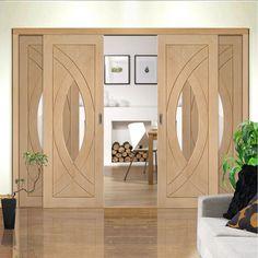 Easi-Slide OP1 Oak Treviso Sliding Door System with Clear Glass in Four Size Widths and sliding track frame. #slidingdoors #oakglazedslidingdoors #contemporarydoors