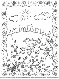 Spring coloring pages - Argenteuil - Orgemont - Spring Coloring Pages, Easter Coloring Pages, Coloring Book Pages, Coloring Sheets, Adult Coloring, Halloween Embroidery, Mixed Media Journal, Cute Pillows, Stencil Designs