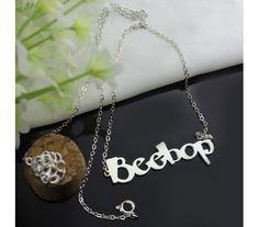 Personalized Beetle Script Name Necklace In Solid White Gold