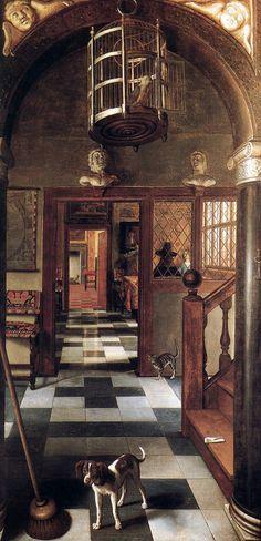 Samuel van Hoogstraten - View of a Corridor (1662), Dyrham Park (NT), Gloucestershire. Interior of Samuel Pepys house.