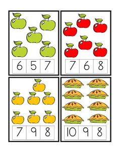Apple Number Cards 1-12 Clothespin Activity