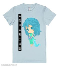 Aquarius Chibi | Another cute chibi Horoscope Aquarius. If you are born with an Aquarius horoscope, then this is the right tee to wear. This is also good as a gift.  #Skreened #aquarius #chibi #tee #girls #horoscope
