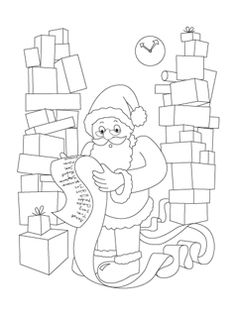 Joey Review: Santa coloring pages we cut colored and cut out to decorate our preschool Christmas tree