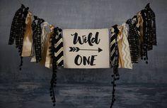 Wild One Birthday Banner Aztec Tribal Decor Boys by JadeandJo