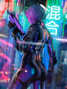 Cyberpunk Neon haired Woman Concept Art Design, Cyber Woman Concept Art Illustration City, Cyberpunk Girl with Pink paint stains, Pink haired girl Credits to its creator. Cyberpunk 2077, Arte Cyberpunk, Cyberpunk Girl, Cyberpunk Aesthetic, Cyberpunk Fashion, Cyberpunk Anime, Neon Aesthetic, Steampunk Fashion, Gothic Fashion