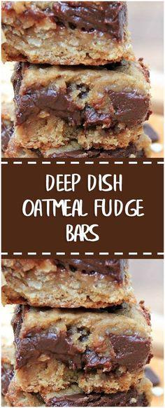 DEEP DISH OATMEAL FUDGE BARS #deep #dish #oatmeal #fudge #bars #whole30 #foodlover #homecooking #cooking #cookingtips