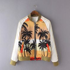 0f52d7226d1 Wholesale Cheap 2016 Palm Coconut Trees Pattern Print Celebrity Style Baseball  Jacket Bomber Jacket plus size