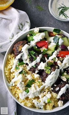 My Greek Bowl is an easy beef recipe, loaded with fresh ingredients for an explosion of exciting flavors in every bite! My Greek Bowl is an easy beef recipe, loaded with fresh ingredients for an explosion of exciting flavors in every bite! Greek Meatballs, Clean Eating, Healthy Eating, Cooking Recipes, Healthy Recipes, Kabob Recipes, Fondue Recipes, Oven Recipes, Carne Picada