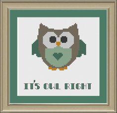 Its owl right cute crossstitch pattern by nerdylittlestitcher, $3.00
