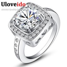 Find More Rings Information about New Square Engagement Rings For Women With White Stone CZ Diamond Sterling Silver Jewelry Wedding Ring Wholesale 2015 Ulove J394,High Quality ring add,China ring middle Suppliers, Cheap ring fantasy from Ulovestore Fashion Jewelry on Aliexpress.com