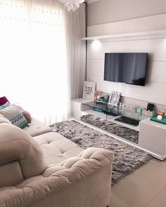 from - { Da nossa sala } 💖🙏🏼 My happy place! Small Apartment Interior, Small Apartment Design, Small Apartment Decorating, Small Apartments, Studio Apartment, Apartment Ideas, Small Living Rooms, Home Living Room, Living Room Designs