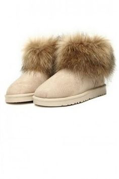 Shoes :: Boots :: Faux Rabbit Fur Suede FURRY YETI WINTER SNOW Ankle Boots