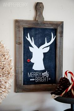 cute rudolph sign for christmas artwork or card - just use a regular deer silhouette and glue something red to his nose.