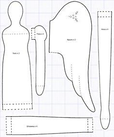 Выкройка Тильды Детали туловища, ручки, крыльев, ножек и штанишек (582x700, 133Kb)