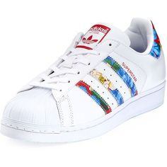 Adidas Superstar Multicolor Stripe Sneaker ($80) ❤ liked on Polyvore featuring shoes, sneakers, adidas, chaussures, white, white leather flats, leather flats, white leather sneakers, white lace up flats and floral flats