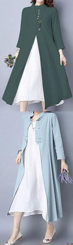 US$34.99+ Free shipping. Size: S~5XL. Color: Blue, Green, Pink.  Fall in love with vintage and elegant style. Gracila 2pcs Suit Women Vintage Stand Collar Solid Button Cardigan and Sleeveless Dress. Shop at banggood with affordable price. #fashion#dress#shopping