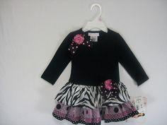 BONNIE BABY INFANT GIRLS SIZE12 MONTHS DRESSY DRESS PINK/BLACK COTTON BLEND  #BONNIEBABY #DROPWAIST #Party