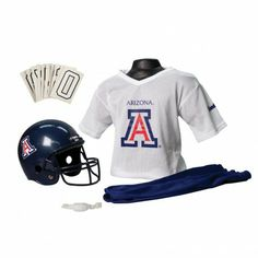 College Football Deluxe Uniform Set - Arizona - Pass along the college football tradition to your young fan with this official College Football Deluxe Uniform Set. Included is an official team jersey, team helmet with authentic logo and team colors, and team pants that will have them looking ready to take the field. The set also includes iron-on numbers (0-9) for the back of the jersey. - See more at: http://franklinsports.com/shop/college-deluxe-uniform-set